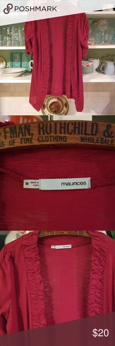 Red cardi runched sleeves. Really pretty red cardigan topper no buttons edging is gathered and sleeves are runched and 3/4 Maurices Tops
