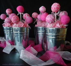 pink cake pops in metal pails for kids partys
