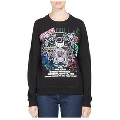 Kenzo Flyer X Tiger Cotton Sweatshirt ($310) ❤ liked on Polyvore featuring tops, hoodies, sweatshirts, black, crewneck, knitwear, cotton crew neck sweatshirt, crewneck sweatshirt, crew neck knitwear and crew neck top