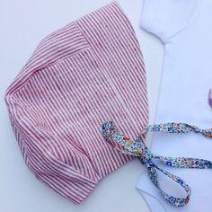 Red linen stripe vintage style baby sunhat ☀️retro babies perfect summer bonnet