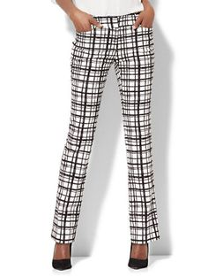 Shop 7th Avenue Pant - Straight-Leg - Signature - Check Print. Find your perfect size online at the best price at New York & Company.