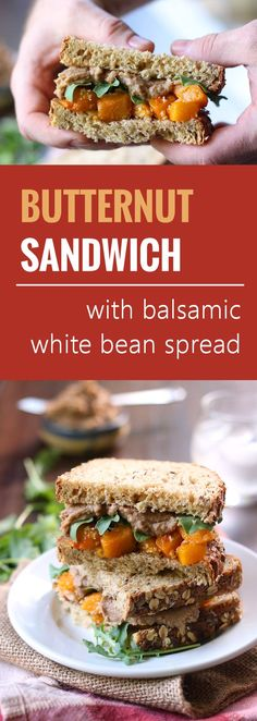 Chunks of roasted squash are stuffed into sandwich bread and slathered with creamy white bean balsamic spread to make these butternut squash sandwiches.