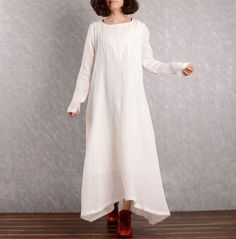 Linen dress Cotton Maxi dress Casual loose Kaftan Party Dress Extravagant Daywear Dress Plus size tunic dresses Large size dress by Luckywu on Etsy