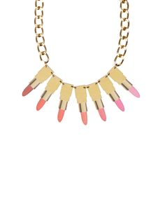 Lipstick Collage Necklace - make up lover? This necklace is just for you! Seven luxurious lipsticks are screenprinted onto acrylic and hand linked onto a chunky golden chain > http://www.tattydevine.com/lipstick-collage-necklace
