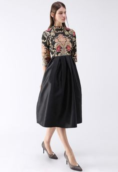 Splendid Baroque Embroidered Jacquard Dress in Black - DRESS - Retro, Indie and Unique Fashion