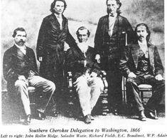 Southern Cherokee Delegation to Washington - 1866 L-R: John Rollin Ridge, Saladin Watie, Richard Fields, Elias Cornelius Boudinot Jr., William Penn Adair - Cherokee