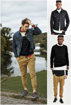 how to wear joggers denim look