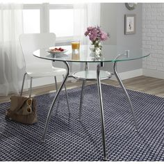Porch & Den Third Ward St. Paul Tempered Glass Chrome Round Dining Table - N/A - N/A | Overstock.com Shopping - The Best Deals on Dining Tables