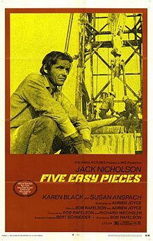 Five Easy Pieces // Directed byBob Rafelson  Produced byBob Rafelson  Richard Wechsler  Written byBob Rafelson  Adrien Joyce  StarringJack Nicholson  Karen Black  CinematographyLászló Kovács  Editing byChristopher Holmes  Gerald Shepard  StudioBBS Productions  Distributed byColumbia Pictures  Release date(s)September 12, 1970