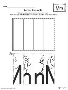 Letter M Scramble Worksheet Worksheet.Practice recognizing the uppercase and lowercase letter M shape along with it's beginning sound in this printable worksheet. Learning Time, Preschool Learning, In Kindergarten, Preschool Activities, Letter M Worksheets, Printable Preschool Worksheets, Printables, Preschool Letters, Letter Activities