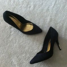 H&M - Suede Pumps With Golden Heel Exelent condition. 3 1/2 inch heel. Open to offer and no trade. H&M Shoes Heels