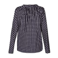 Marni Tie-back checked coated cotton-poplin blouse (31.205 RUB) ❤ liked on Polyvore featuring tops, blouses, navy multi, blue long sleeve blouse, blue blouse, tie back crop top, crop blouse and navy blue blouse