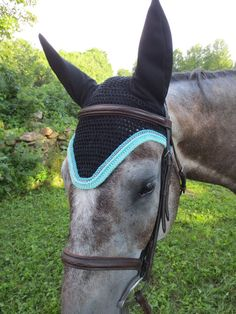 Horse Fly Bonnet Black with Teal Trim and by GoldenWeatherCreate, $65.00