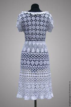 """Купить Платье """"Песня земляничных полей"""" - белый, платье вязаное, платье, платье крючком"""