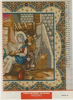 ♥ My point Graphs Cruz ♥: Frames: Nativity in Cross Stitch Xmas Cross Stitch, Cross Stitch Needles, Beaded Cross Stitch, Counted Cross Stitch Patterns, Cross Stitch Charts, Cross Stitch Designs, Cross Stitching, Cross Stitch Embroidery, Embroidery Patterns