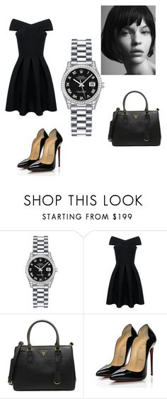 """Rolex Lady-Datejust 26 179159"" by authenticwatches ❤ liked on Polyvore featuring Rolex, Prada and Christian Louboutin"