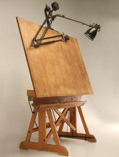 reference for Woodworking — jeroenapers: De ouderwetse tekentafel, in alle. Studio Furniture, Vintage Furniture, Furniture Design, Drawing Furniture, Drawing Desk, Drawing Tables, Industrial Drafting Tables, Industrial Office, Artist Workspace