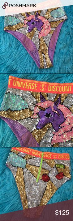 DISCOUNT UNIVERSE UNICORN SEQUIN PANTIES SZ M Amazing !!! Discount Universe Pants