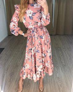 2020 Women Fashion vintage floral maxi dress floral frocks for ladies – swetson Flower Dresses, Modest Dresses, Floral Maxi Dress, Casual Dresses, Summer Dresses, Floral Print Dresses, Floral Prints, Party Dresses, Long Sleeve Floral Dress