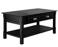 Contemporary Coffee Table With Drawers Wooden Living Room Furniture Black Finish