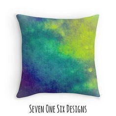 Colorful Northern Lights Tie Dye Throw Pillow in Home Decor