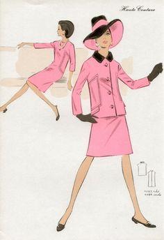 Original 1969 French fashion colour lithograph. $40