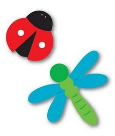 Moldes joaninha e libélula