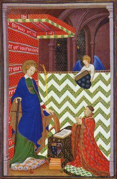 Le maréchal de Boucicaut en prière devant sainte Catherine, Heures du maréchal de Boucicaut. Les premières vues en perspective à l'intérieur des bâtiments se trouvent dans l'œuvre du Maître de Boucicaut, à Paris, entre 1405 et 1420. C'est lui et les frères de Limbourg qui introduisent la feuille d'acanthe comme motif décoratif principal dans l'enluminure française.