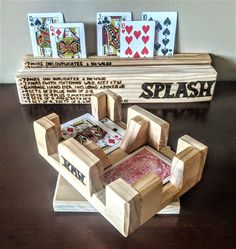 personalized, wood, Canasta tournament, playing card holder, husband gift, Canasta rack, wife gift, mother gift, father gift, card rack Great Mothers Day Gifts, Gifts For Husband, Gifts For Father, Mother Gifts, Playing Card Crafts, Custom Playing Cards, Playing Card Holder, Grandfather Gifts