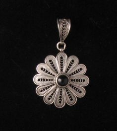 Pendant: Sterling Silver Flower with Black Onyx Stone Silver Pendant Necklace, Silver Hoop Earrings, Silver Necklaces, Pendant Jewelry, Silver Ring, Sterling Jewelry, Sterling Silver Pendants, Sunflower Jewels, Mommy Jewelry