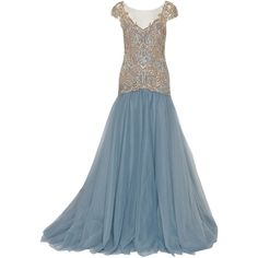 Marchesa Embellished tulle gown ($3,235) ❤ liked on Polyvore featuring dresses, gowns, long dresses, 13. dresses., marchesa, light blue, light blue evening gown, long gowns, light blue gown and tulle ball gown