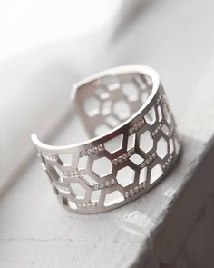 Silver & Diamond Hexagon Cuff - India Hicks | domino.com