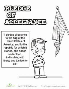 July Day First Grade National Symbols Worksheets: Pledge of Allegiance Worksheet Learning Activities, Kids Learning, Free Printable Worksheets, Printables, Super Worksheets, I Pledge Allegiance, American Symbols, Teaching Social Studies, Allegiant