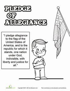 July Day First Grade National Symbols Worksheets: Pledge of Allegiance Worksheet Patriotic Symbols, Patriotic Crafts, July Crafts, I Pledge Allegiance, Free Printable Worksheets, Printables, National Symbols, American Symbols, Teaching Social Studies