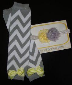 Gray Chevron Leg Warmer Set. Gray/Yellow by ThisandThatIA on Etsy, $11.99