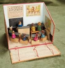 """10"""" (25 cm.) French Miniature Schoolroom with pupils, teacher and dunce"""