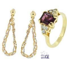 Brincos em Ouro 18k (Três Cores) e Anel em Ouro 18k, Ametista e Diamantes.  #joias #1001Noites