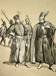 From left: musketeer and decurion of the  Michal Kazimierz Radziwill Hungarian company 1679 (according to figures showing the entry of Polish embassy to Vienna), King's haiduk's according to engravings le Blond 1671. Fig. B. Gembarzewski.