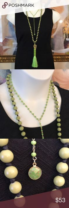 """Necklace Set Two piece necklace set. 34""""L green glass necklace set with beaded green tassel and gold tone metal charm accents. 16""""L beaded necklace with druzy charm. Versatile set; wear pieces together, alone or coordinate with your personal favorite necklaces. Sizes: 16"""" w/6.5""""L drop and 34""""L w/7.5""""L drop. D.Green Designs Jewelry Necklaces"""