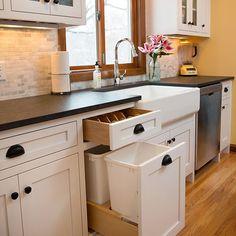 new hidden cabinets in kitchen remodel Kitchen Cabinet Accessories, Hidden Cabinet, Cabinet Companies, Custom Cabinets, Kitchen Organization, Countertops, Kitchen Remodel, Kitchen Cabinets, Flooring