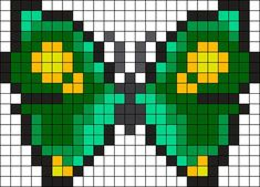 Green Spotted Butterfly Perler Bead Pattern / Bead Sprite