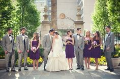 Purple Gray Wedding. I really like that the wedding party isn't lined up perfectly