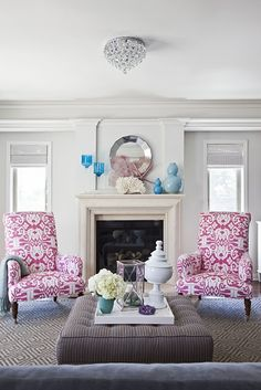 how fabric makes a difference.  the room without those chairs is blah.  but now it's unique.  living room / family room.  home decor and interior decorating ideas.