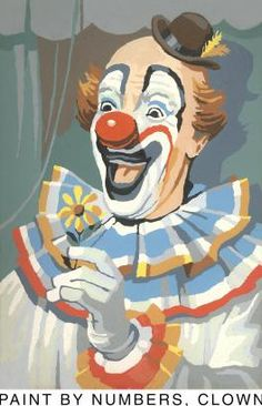 Paint by Numbers, Clown  Stretched Canvas Print.  I actually got a clown paint by number when I was little and I think it was this one...oh dear, getting older 1