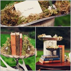 woodsy wedding with vintage books, silver trays, moss, antlers