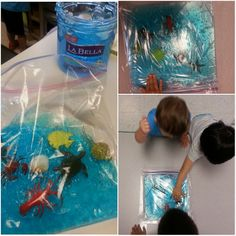 Preschool under the sea Ocean in a bag or sensory bag blue hair gel large ziplock freezer bags (double the bags) sea creatures and tape down to a table kids love it Ocean Activities, Infant Activities, Sea Creatures Crafts, Under The Sea Theme, Sea Crafts, Ocean Themes, Sea And Ocean, Preschool Activities, A Table