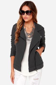 """You don't have to sacrifice comfort for style with cool pieces like the BB Dakota Allesa Grey Sweater Jacket! This textured knit jacket has an edgy moto-style with shoulder epaulettes, decorative snaps at the notched lapels, and an exposed asymmetrical zipper front. Zipper closures at the cuffs and vertical front pockets top off this cozy must-have! Unlined. Model is 5'8"""" and is wearing a size X-small. 98% Cotton, 2% Polyester. Hand Wash Cold. Imported."""