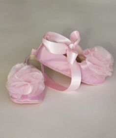 Pink Satin Tulle Ballet Baby Couture Slippers