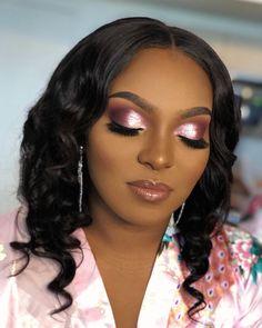 Pink glitter bridal makeup for black women. Pink blush makeup for women of color Glam Makeup Look, Bridal Makeup Looks, Bride Makeup, Blush Makeup, Wedding Hair And Makeup, Crazy Makeup, Wedding Hairstyle, Wedding Makeup For Brown Eyes, Wedding Day Makeup