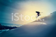 Extreme   Freestyle snow skier  jumping   Off pist  back country skiing royalty-free stock photo